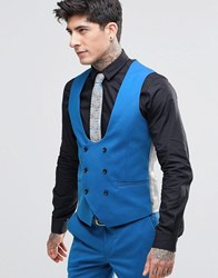 Noose And Monkey Super Skinny Db Waistcoat With Stretch Cornflour Blue