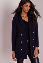 Missguided Military Faux Wool Coat Navy Blue