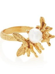 Ottoman Hands Flower Pearl Ring Gold Plated