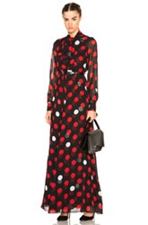 Mcq By Alexander Mcqueen Mcq Alexander Mcqueen Pussy Bow Maxi Dress In Geometric Print Black