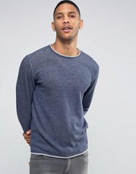 Only And Sons Knitted Jumper With Rolled Neck Hem Navy