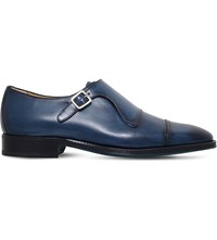 Sutor Mantellassi Uberto Leather Single Monk Shoes Blue