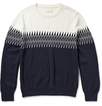 Band Of Outsiders Intarsia Knitted Cotton Sweater Blue