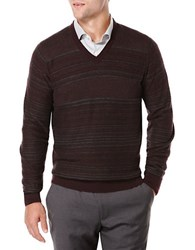 Perry Ellis Striped V Neck Sweater Oatmeal