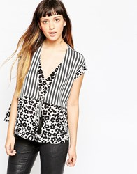 See By Chloe Blouse In Striped Animal Print With Tassel Tie Blackandwhilte