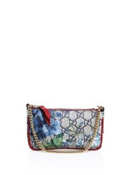 Gucci Petite Bloom Canvas Painted Satchel Beige Blue