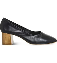Office Mia Leather Heeled Ballet Shoes Black Leather