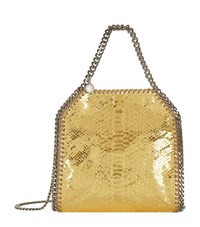 Stella Mccartney Mini Bella Metallic Snake Embossed Tote Female Gold Snake