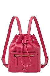 Fossil 'Vickery' Drawstring Leather Backpack Bright Pink