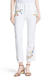 Women's Tory Burch 'Carson' Embroidered Crop Flare Jeans White Delphina