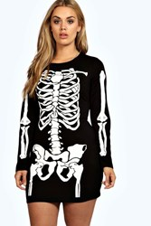 Boohoo Skeleton Bodycon Dress Black