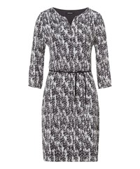 Olsen Feather Print Dress Storm Grey