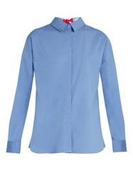 Msgm Open Back Long Sleeved Stretch Cotton Top Light Blue