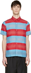Raf Simons Blue And Red Striped Shirt