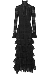 Alexander Mcqueen Ruffled Lace Paneled Metallic Silk Blend Gown Black