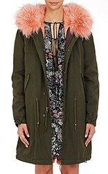 Mr And Mrs Italy Women's Canvas Fur Trimmed Parka Green Pink No Color