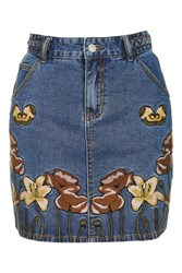 Glamorous Embroidered Denim Skirt By Petites Blue