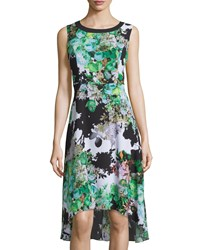 P. Luca Floral Print High Low Chiffon Dress Green Prin