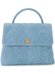 Chanel Vintage Quilted Denim Tote Blue