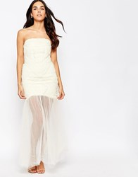Jarlo Bandeau Dress With Chiffon Maxi Overlay Antique Cream