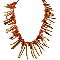 Brass Fusion Natural Gold And Red Coral Stick Necklace
