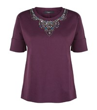Max Mara Maxmara Weekend Callas Embellished Scuba T Shirt Female Red