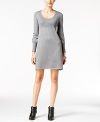 Ny Collection Petite Ribbed Sweater Dress Grey Heather