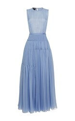 Rochas Sleeveless Pleated Chiffon A Line Gown Light Blue