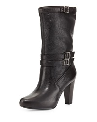 Frye Marissa Slouchy Leather Mid Calf Boot Black