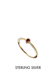 Asos Gold Plated Sterling Silver January Birthstone Ring Red