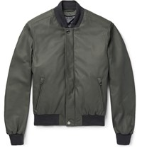 Brioni Leather Bomber Jacket With Detachable Shell Gilet Green