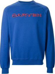 Carven Cut Out Logo Sweatshirt Blue