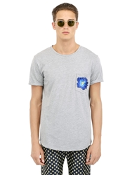 Christian Pellizzari Flower Embroidered Cotton T Shirt Grey Blue