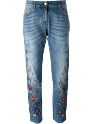 Etro Flower Embroidered Jeans Blue