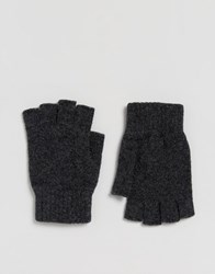 Glen Lossie Lambswool Fingerless Gloves In Charcoal Grey