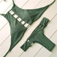 Bae High Neck Halter Cut Out Hollowed Out Cheeky By Milaniaswim