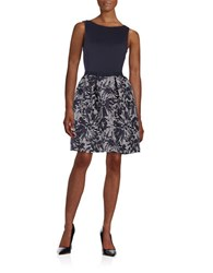 Taylor Patterned Texture Fit And Flare Dress Navy White