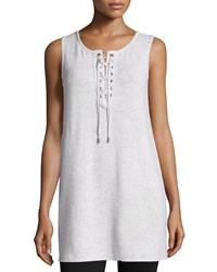 Neiman Marcus Active Lace Up V Neck Tank New Light Heather Gray
