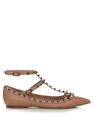 Valentino Rockstud Leather Flats Nude