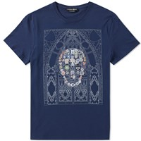 Alexander Mcqueen Stained Glass Skull Tee Blue