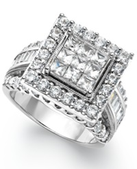 Macy's Diamond Square Engagement Ring In 14K White Gold 3 Ct. T.W.