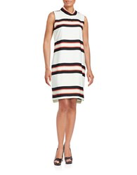 Calvin Klein Block Striped Mockneck Shift Dress Soft White Black Multi
