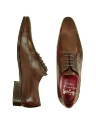 Fratelli Borgioli Handmade Brown Italian Leather Wingtip Dress Shoes