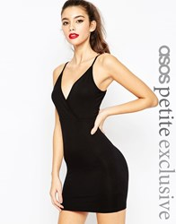Asos Petite Wrap Front Bodycon Dress With Strappy Back Black