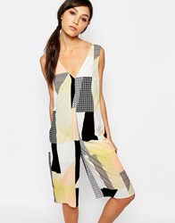 Neon Rose Relaxed Cropped Jumpsuit In Patchwork Multi