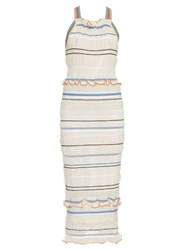 Peter Pilotto Atmos Smocked Knit Midi Dress White