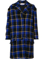 Marni Boucle Check Coat Blue