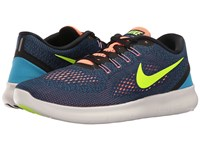 Nike Free Rn Purple Dynasty Black Bright Mango Volt Men's Running Shoes Blue