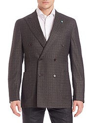 Eidos Double Breasted Wool Check Blazer Charcoal