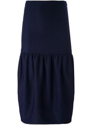Victoria Beckham Bubble Hem Midi Skirt Blue